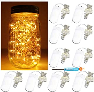 Battery Powered Fairy Firefly Jar Lights,10 Pack 20 LEDs 7.2 ft Warm White Starry LED String Lights,for Wedding Party Christmas Mason Jar Table Decorations Lights