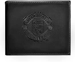 Manchester United FC - Geldbörse mit geprägtem Vereinswappen - Offizielles Merchandise - Schwarz - 11 x 9,5 cm
