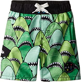 Maui & Sons Boys 'グリーンSwim Trunk with Shark Print