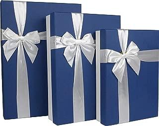 Cypress Lane Rectangular Rigid Gift Box with Ribbon, a Nested Set of 3 (White/Blue)