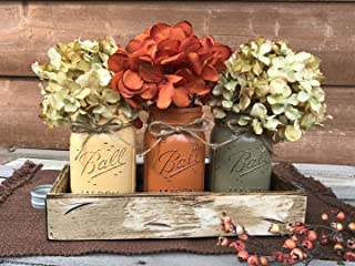 FALL Mason Canning JARS in Wood Antique White Tray Thanksgiving Centerpiece with 3 Ball Pint Jar -Kitchen Table Decor -Distressed Rustic -Flowers (Optional) - Painted Jars Orange Brown Green Yellow