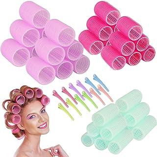 EEEKit Self Grip Hair Rollers Set, Salon Hairdressing Curlers with Clips for Long, Medium, Short Hair Bangs, Self Holding ...
