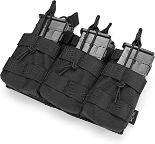 ProCase Open-Top Triple Stacker Mag Pouch, Tactical Magazine Pouch with Bungee Straps for AR15 AK47 M4 M16 Magazines -Black