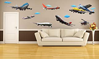 Home Wing Room Decor 3D Wall Decals Airplane Series Hot Air Balloon Wall Art Stickers for Kid's Room