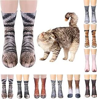 4 Pair Unisex 3D Animal Paw Crew Socks (Elephant Paw,Dinosaur Paw,Cat Paw,Dog Paw)