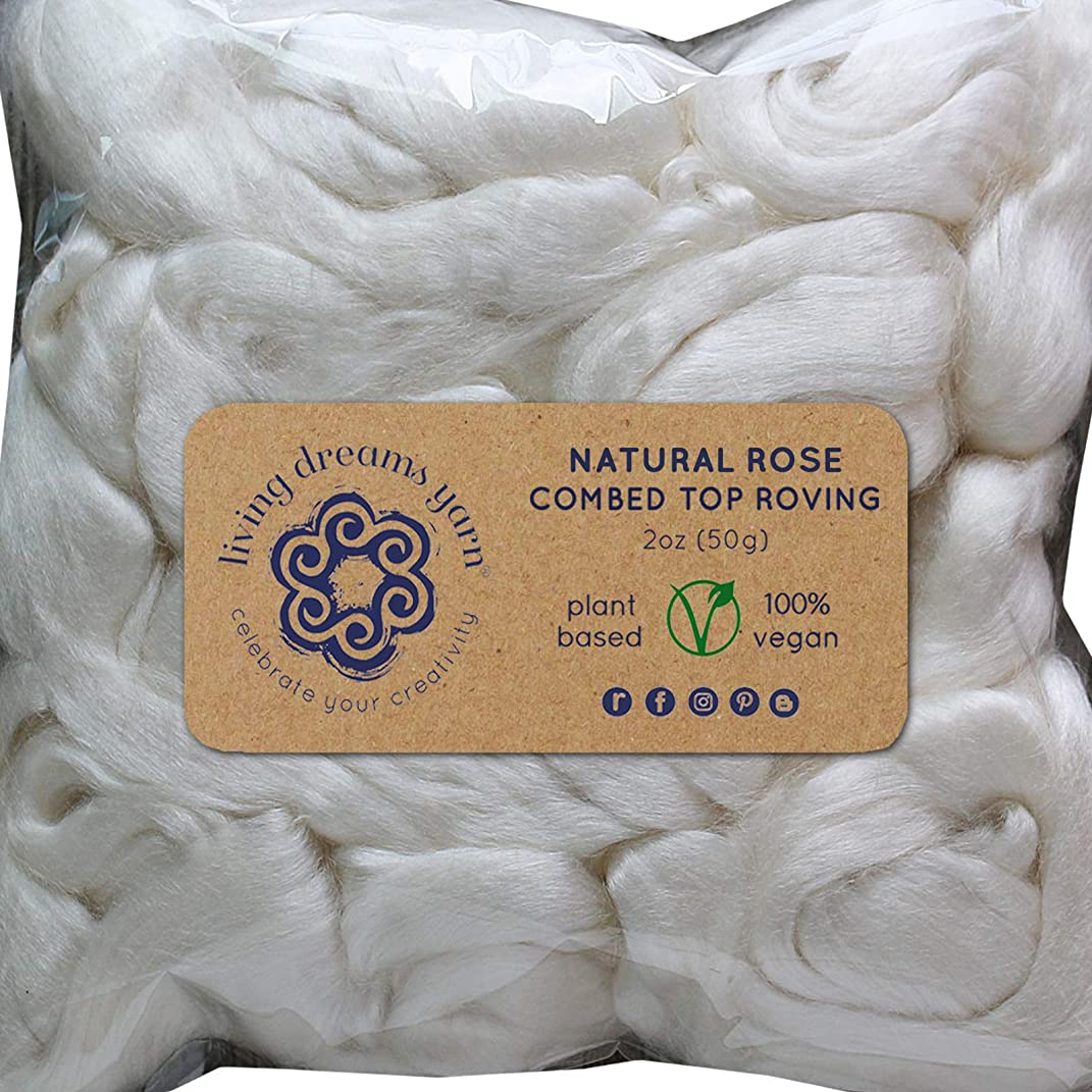 Rose Fiber for Spinning Blending Dyeing. Luxurious Rare Organic Vegan Combed Top