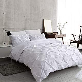 slashome Queen Duvet Cover, 3Pcs Pinch Pleat Luxurious Decorative Softest White Brushed Microfiber Bedding Set with Zipper Closure and Corner Ties