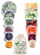 True Nature Silicone Stretch Food Covers 12-Pk - 100% Platinum-Cured Food Grade Silicon, BPA-Free - Flexible, Reusable, Du...