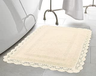 Laura Ashley Crochet Cotton 21x34 Bath Rug, Ivory