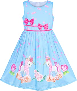 32b4b205c948 Sunny Fashion Girls Dress Rose Flower Double Bow Tie Party Sundress