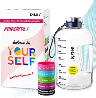 B4Life 1 Gallon Water Bottle with Time Marker, Motivational Wristband, Fitness Workout, Drink More Water Daily, Extra Large BPA-Free Water Bottle Leakproof with Flip Top