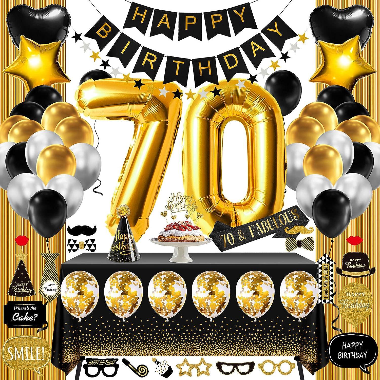 70th Birthday Decorations for Women Or Men Black  Gold, 70 Birt