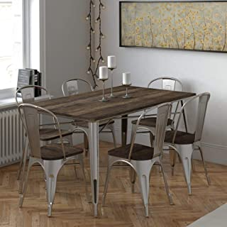 DHP Rectangular Fusion Table Chairs, Antique Gun Metal/Wood, 7 Piece Dining Set,