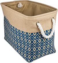 DII Sturdy Burlap, Collapsible, Convenient Storage Bin For Office, Bedroom, Closet, Laundry & More - Medium Rectangle, Blu...
