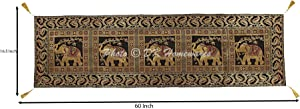 DK Homewares Ethnic Traditional Birthday Parties Elephant Tassel Work Table Runner Black Gold Brocade Satin 60 Inches Long Dining Table Decoration 5 Ft Centerpiece (150 X 40 cm)