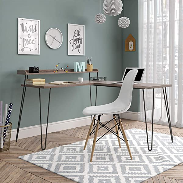 Ameriwood Home 5640307COM Haven L Riser Distressed Gray Oak Desk