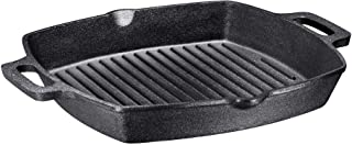 13 Inch Square Cast Iron Grill Pan Steak Pan Pre-seasoned Grill Pan with Easy Grease Drain Spout, with Large Loop Handles ...