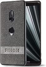 FINON Design Cotton Model [ PC/TPU/Cotton ] for Sony Xperia XZ3 Case - Fingerprint Prevention Function and Simple Hybrid case, Cotton Design, Shock Resistance, Lightweight - Gray