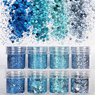 COKOHAPPY 8 Boxes Sky Blue Chunky Glitter Makeup, Holographic Flake Cosmetic Sequins Glitter, Ultra-thin Nail Art Iridescent Sparkle Mixed Glitter for Face Body Hair
