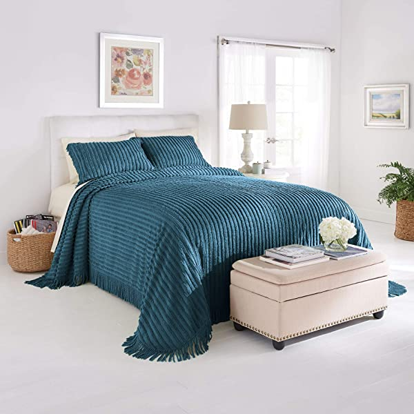 BrylaneHome Chenille Bedspread Antique Blue King