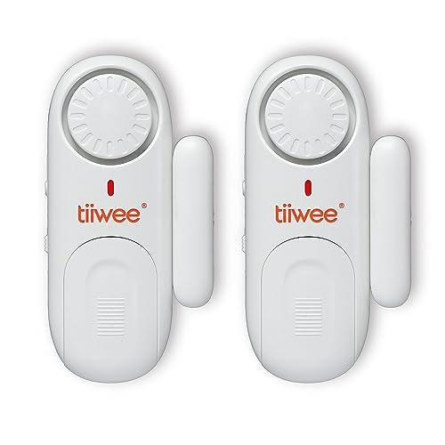 Tiiwee Alarme Antivol pour Portes et Fenêtres - Lot de 2 - Sirène 120dB - Piles Incluses