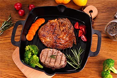 Cast Iron Grill Pan Skillet Square for Stove Top and Oven with Two Silicone Handles