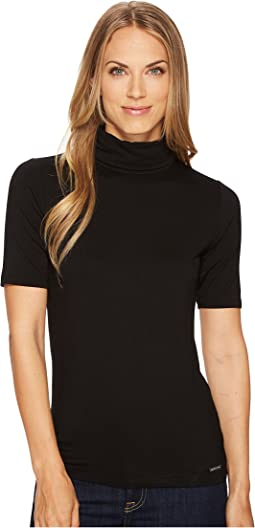Short Sleeve Solid Mock Neck