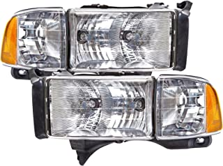 HEADLIGHTSDEPOT Headlight Chrome Housing Halogen Compatible with Dodge Ram Sport Models ONLY 1500 2500 3500 (Pair)