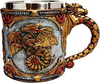 Golden Fire Wheel Steampunk Cyborg Robotic Dragon Beer Stein Tankard Coffee Cup Mug