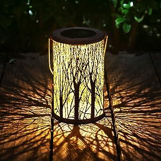 Esgarden Solar Lantern Outdoor Light Metal Hanging Garden Lantern for Patio Courtyard Party Walkway Terrace Garden Lawn Decorative 1 Pc (White)
