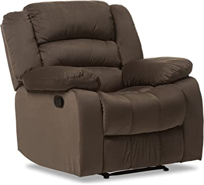 Baxton Studio Bevis Modern & Contemporary Micro Suede 1 Seater Recliner, Brown