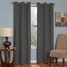 ستائر نافذة برادلي عازلة للحرارة من المايكروفايبر بغطاء علوي جروميت لتعتيم غرفة المعيشة من اكليبس، 42 × 84، رمادي داكن