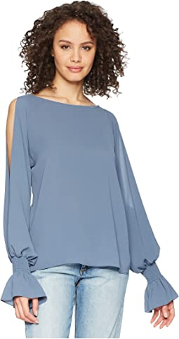 Flare Cuff Cold Shoulder Boat Neck Blouse
