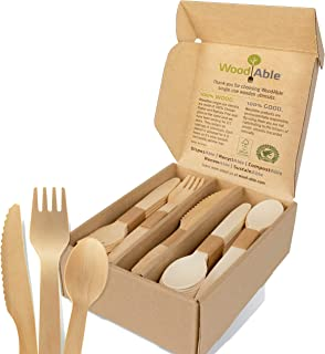 WoodAble - Disposable Wooden Forks, Spoons, Knives Set | Alternative to Plastic Cutlery - FSC Certified - E...