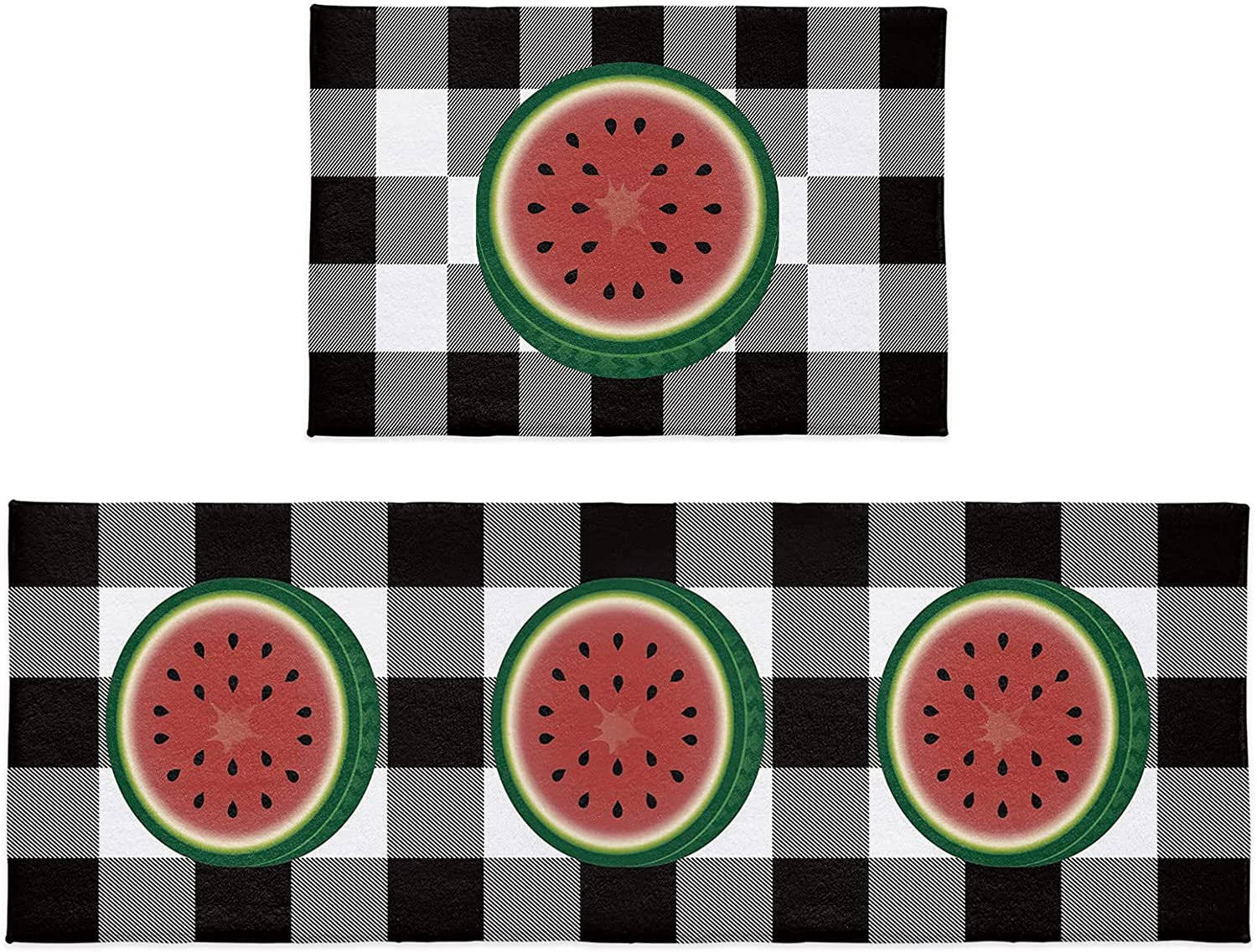 2 Pieces Outlet sale feature Spring new work Kitchen Rugs and Mats Summer Fruit Watermelon Art Set W