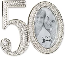 Rhinestone Bead Encrusted 50th 3 x 4.5 inch Zinc Alloy Table Top Picture Frame