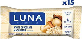 LUNA BAR - Gluten Free Snack Bars - White Chocolate Macadamia  Flavor - (1.69 Ounce Snack Bar, 15 Count)