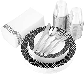 200-Piece Plastic Plates, Plastic Cutlery, Rimmed Plastic Cups and Guest Towels - Service for 25 Guests Elegant Disposable Dinnerware Set for Wedding, Party, Thanksgiving, Holiday (Black and White)