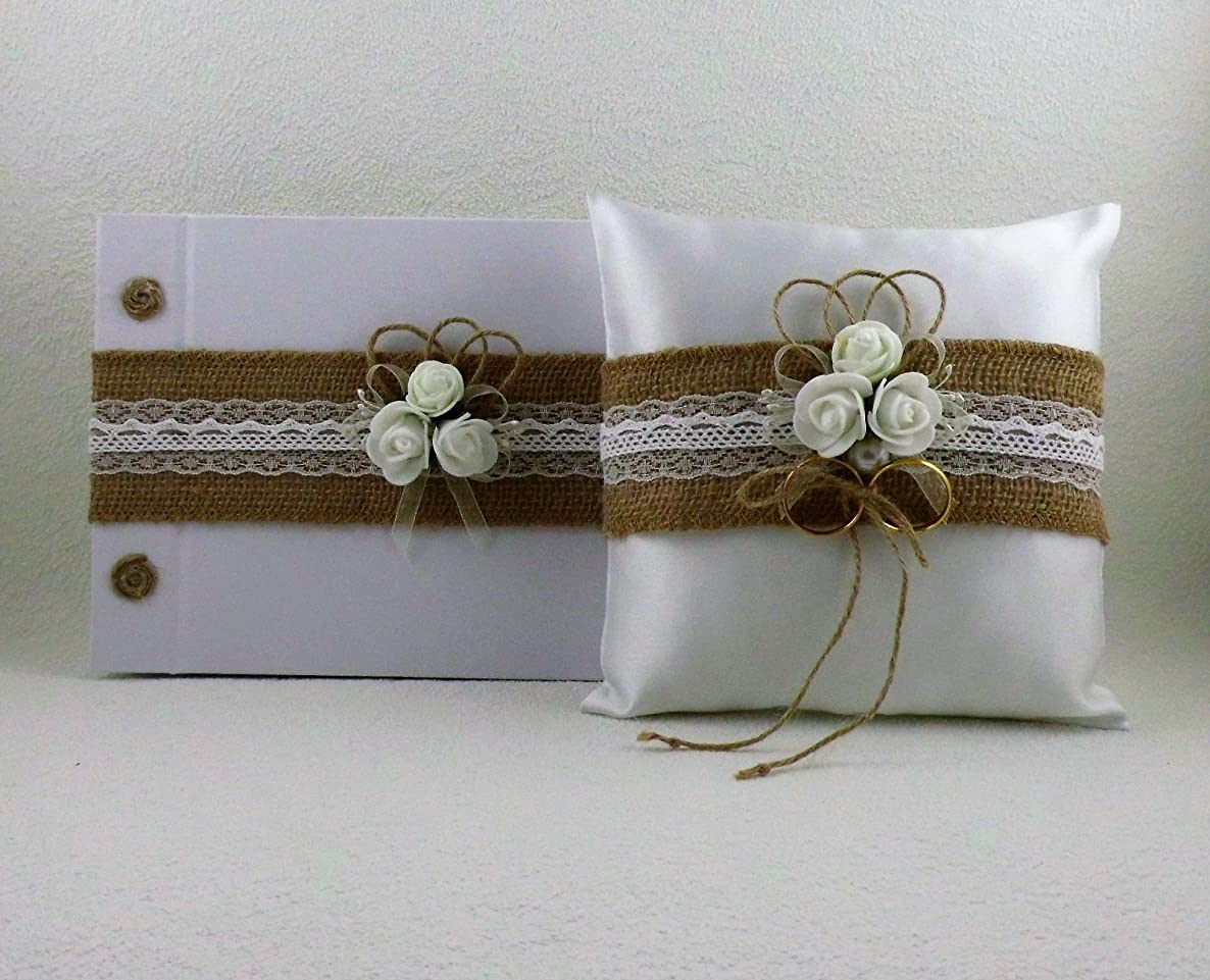 Wedding set with jute ribbon, ring pillow, guest book