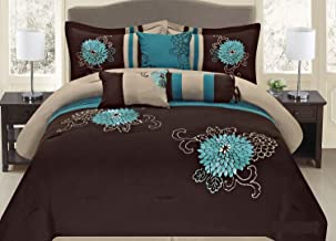 Brown Turquoise Western Style 7 Pcs Embroidery Comforter Set (Queen)