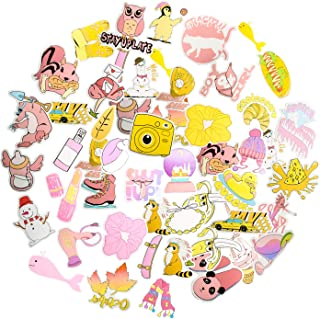 VSCO Cute Vinyl Stickers Pack for Water Bottles Laptop Phone Waterproof Funny Aesthetic Trendy Stikers for Girls Boys Teens  Pieces  Pink Yellow