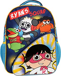 Ryan's World Backpack for Boys and Girls, Durable School Bag w/Front & Mesh Side Pockets, Padded Back & Adjustable Straps