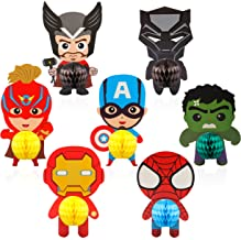 Ticiaga Superhero Party Favors, 7pcs Cartoon Hero Honeycomb Centerpieces Table Topper for Birthday Party Decoration, Double Sided Superhero Cake Topper, Photo Booth Props, Superhero Party Supplies
