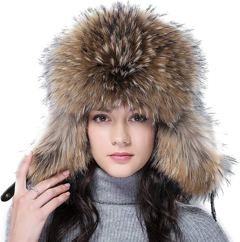 URSFUR Women's Fox & Raccoon Fur Russian Ushanka Trapper Hat Caps with Ear Flap