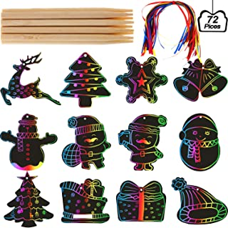 Gejoy 72 Pieces Christmas Scratch Paper Rainbow Color Scratch Ornaments Christmas Ornaments Hanging Craft Art Kits with Wooden Stick and Rope for Kids Christmas Party Decorations