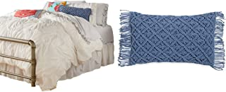 A.T. Products Corp. The Pioneer Woman Ruched Chevron Comforter, King Size, White Bundle with The Pioneer Woman Macrame 12