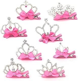 Elesa Miracle Baby Girl Toddler Kids Pink Bow Pearl Rhinestone Silver Crown Tiara Hair Clips in Gift Box