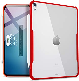 TineeOwl iPad Pro 12.9-inch (2018 Release, 3rd Generation) Ultra-Slim Clear Case, Supports Apple Pencil Wireless Charging [Absorbs Shock] Flexible TPU, Lightweight (Red)