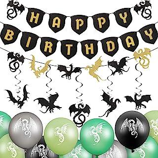 33 Pieces Dragon Cake Decoration Dragon Birthday Banner Dragon Theme Party Swirls Set Including 20 Dragon Balloons 3 Drago...