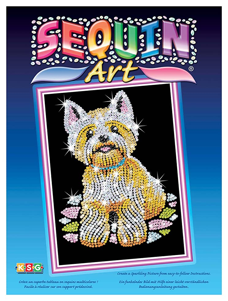 Sequin Art Blue, Westie Dog, Sparkling Arts and Crafts Picture Kit; Creative Crafts for Adults and Kids